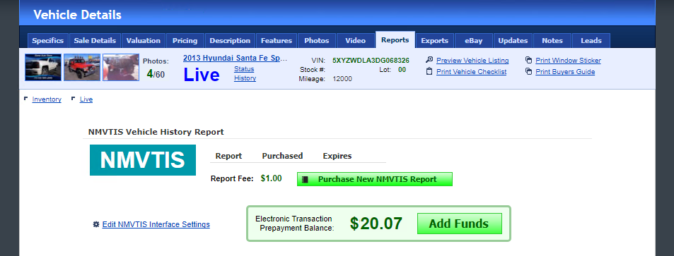 Nmvtis reports in webmanager for The national motor vehicle title information system